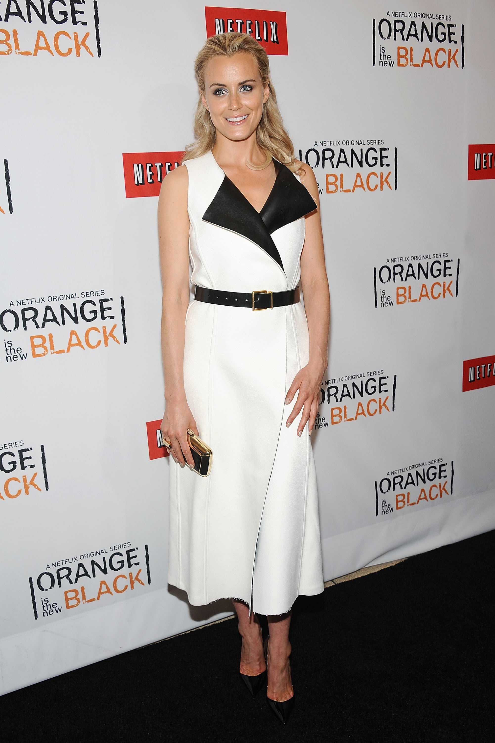 The actress embraced the black-and-white trend in a tuxedo-style dress at the NYC premiere of Orange Is the New Black.