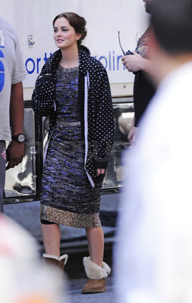 Leighton Meester on the set of Gossip Girl.