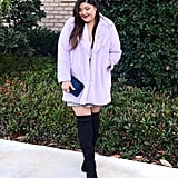 A Lavender Fuzzy Coat With Thigh-High Boots