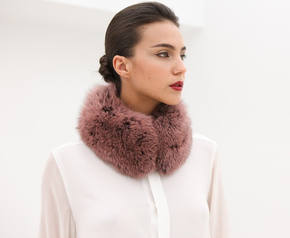 Between the high neckline and pretty rose-tinted hue, this AR Fox Fur Collar ($625) is ideal for pairing with coats and evening dresses.