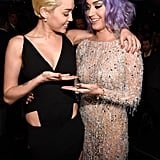 Katy Perry and Miley Cyrus compared cleavage in 2015.