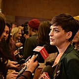 Anne Hathaway answered questions at the Song One premiere.