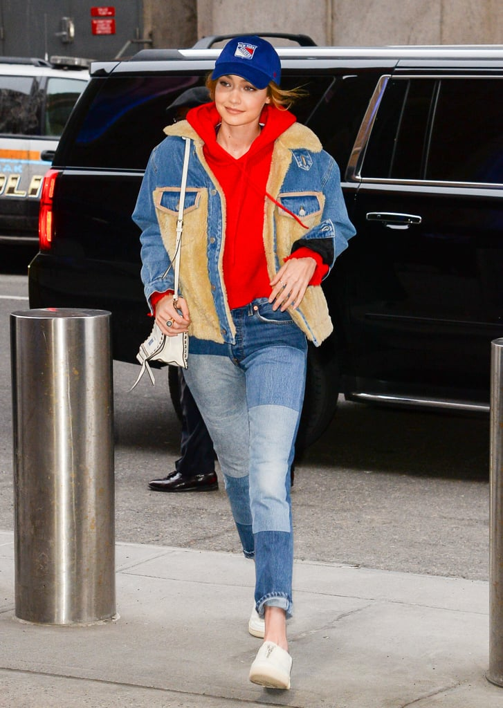 Gigi Hadid loves unconventional denim. (Yes, we've been paying attention.) The 22-year-old model dressed down for a New York Rangers game at Madison Square Garden on March 12. For her low-key look, Gigi wore an oversize RtA hoodie ($325), zip-up Reebok sneakers ($63), and a white Prada handbag ($2,590), but her patchwork jeans really caught our attention — serving as proof that even when she's dressed casually, she still manages to include a few eye-catching elements.  Though we couldn't track down Gigi's exact pair of patchwork jeans, there are fortunately plenty of similar options online given the trend's popularity in recent years. See pictures of Gigi's sporty look ahead and shop other cool, contrasting patchwork jeans.       Related:                                                                                                           If You Can Even Recognize Her, Gigi Hadid Popped Up on the Jeremy Scott Runway