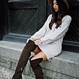A Knitted Sweater Dress and Autumn-Colored Over-the-Knee Boots