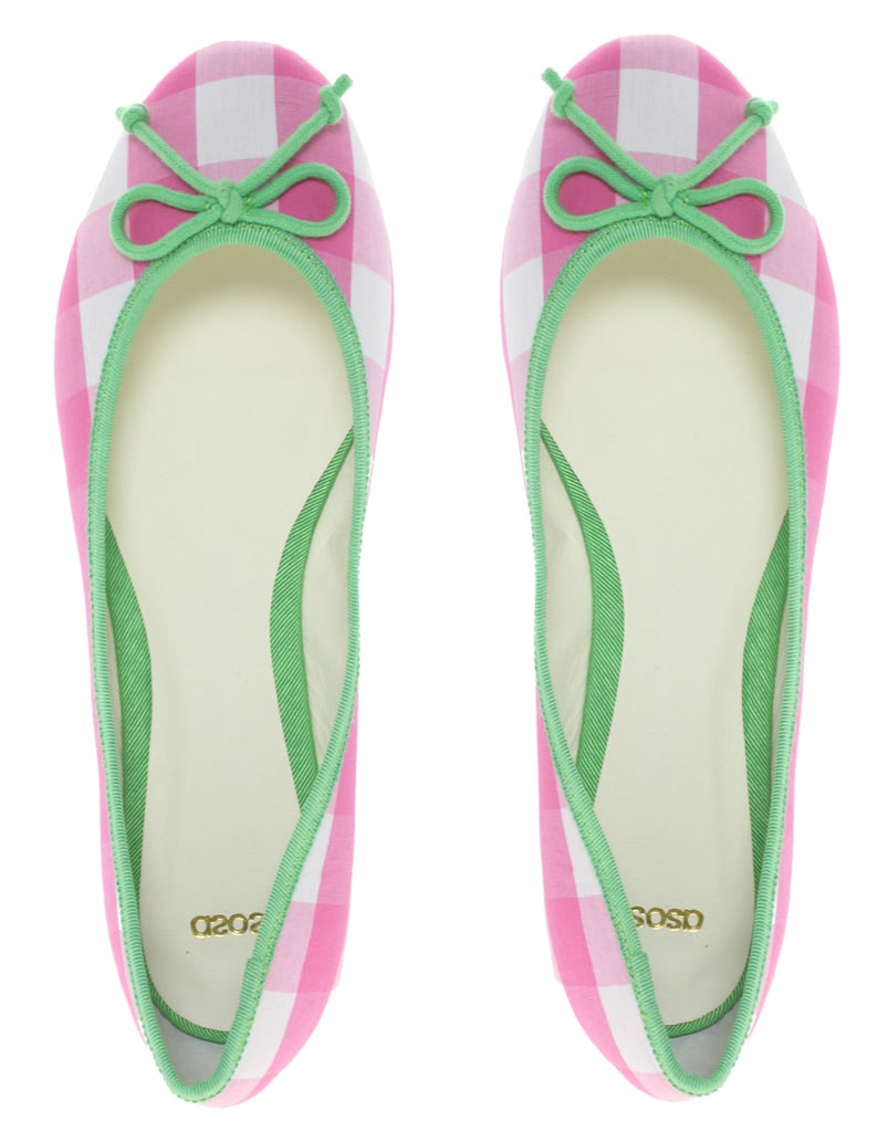 These bright flats will lend a pop of color with the freshest, preppiest tilt to whatever you have on.  Asos Lucy Gingham Bow Detail Ballet Flats ($40)