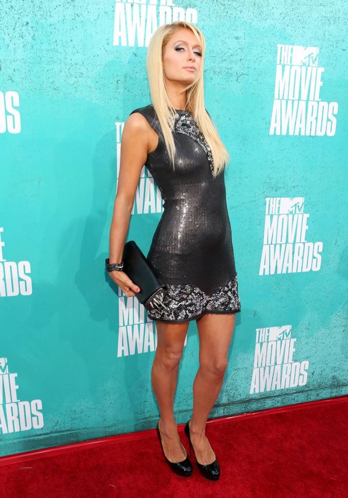 Paris Hilton posed at the 2012 MTV Movie Awards.