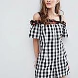 Asos Gingham Floral Ruffle Playsuit