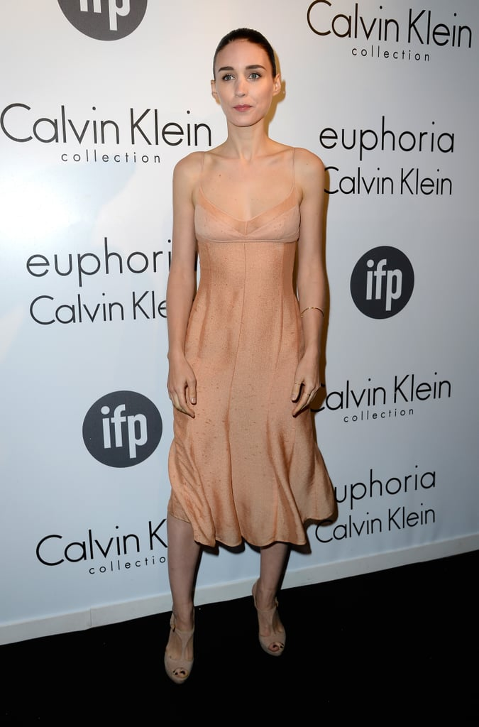 Rooney Mara chose a nude tank dress and matching sandals from Calvin Klein Collection for the brand's affair in Cannes.