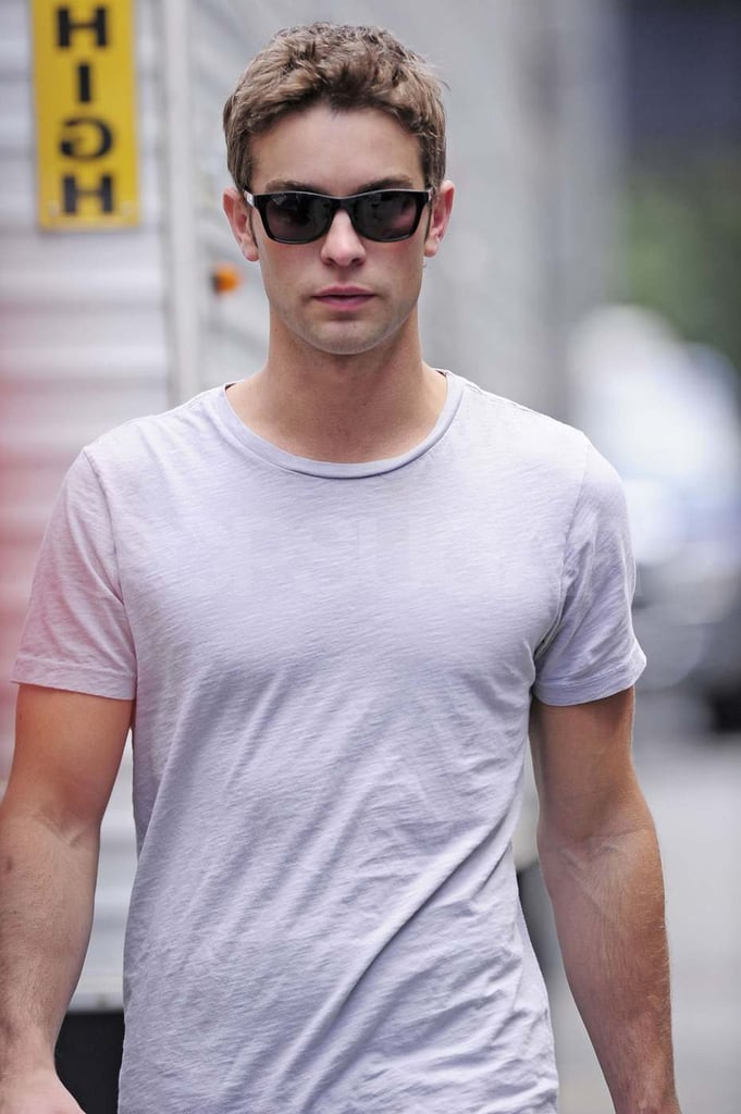 Chace Crawford on the set of Gossip Girl.