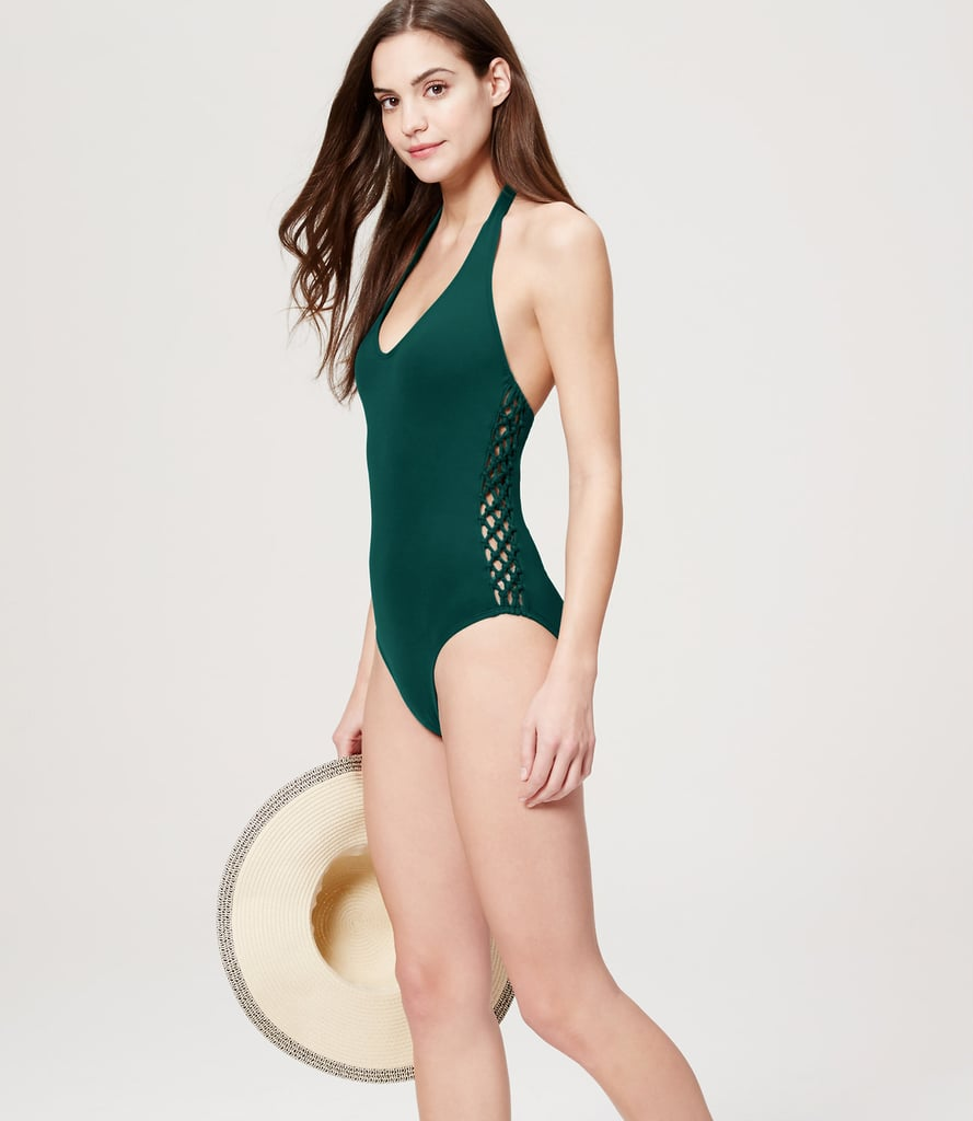 Loft Beach Crochet Halter One Piece Swimsuit ($90)