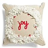 Joy With Flower Wreath Pillow