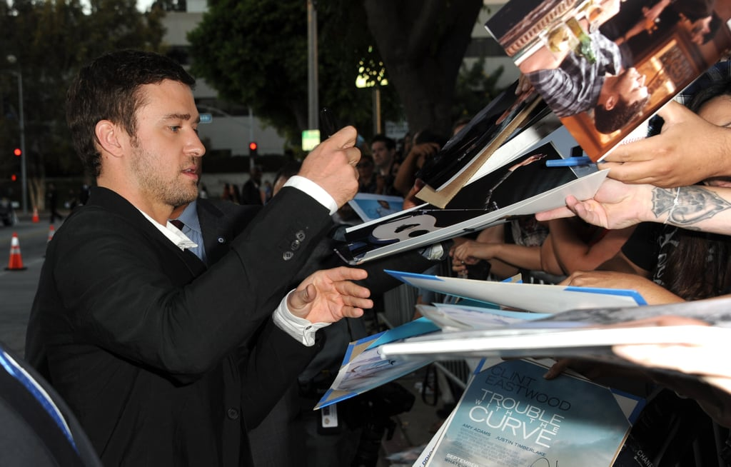Justin Timberlake met with fans outside of his Trouble With the Curve premiere in LA.