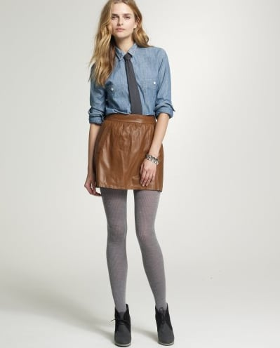 Black leather is cool, but brown leather is way cooler right now. This J.Crew Leather Atlee Skirt ($325) must be mine!