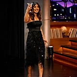 Priyanka Chopra Black Feather Dress on James Corden