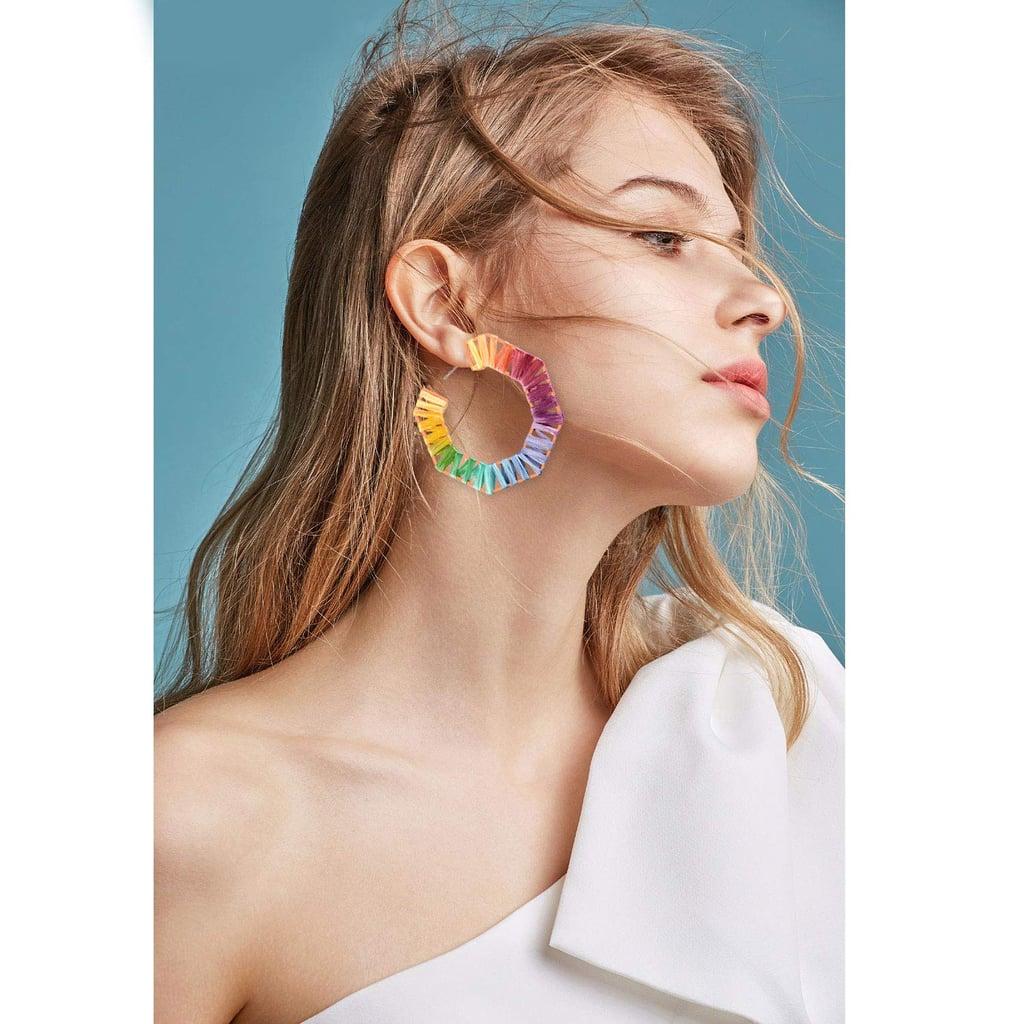 Gushion Statement Rainbow Raffia Drop Hoop Earrings