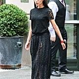 Victoria wearing a ladylike lace drop-waist dress in New York in 2015.
