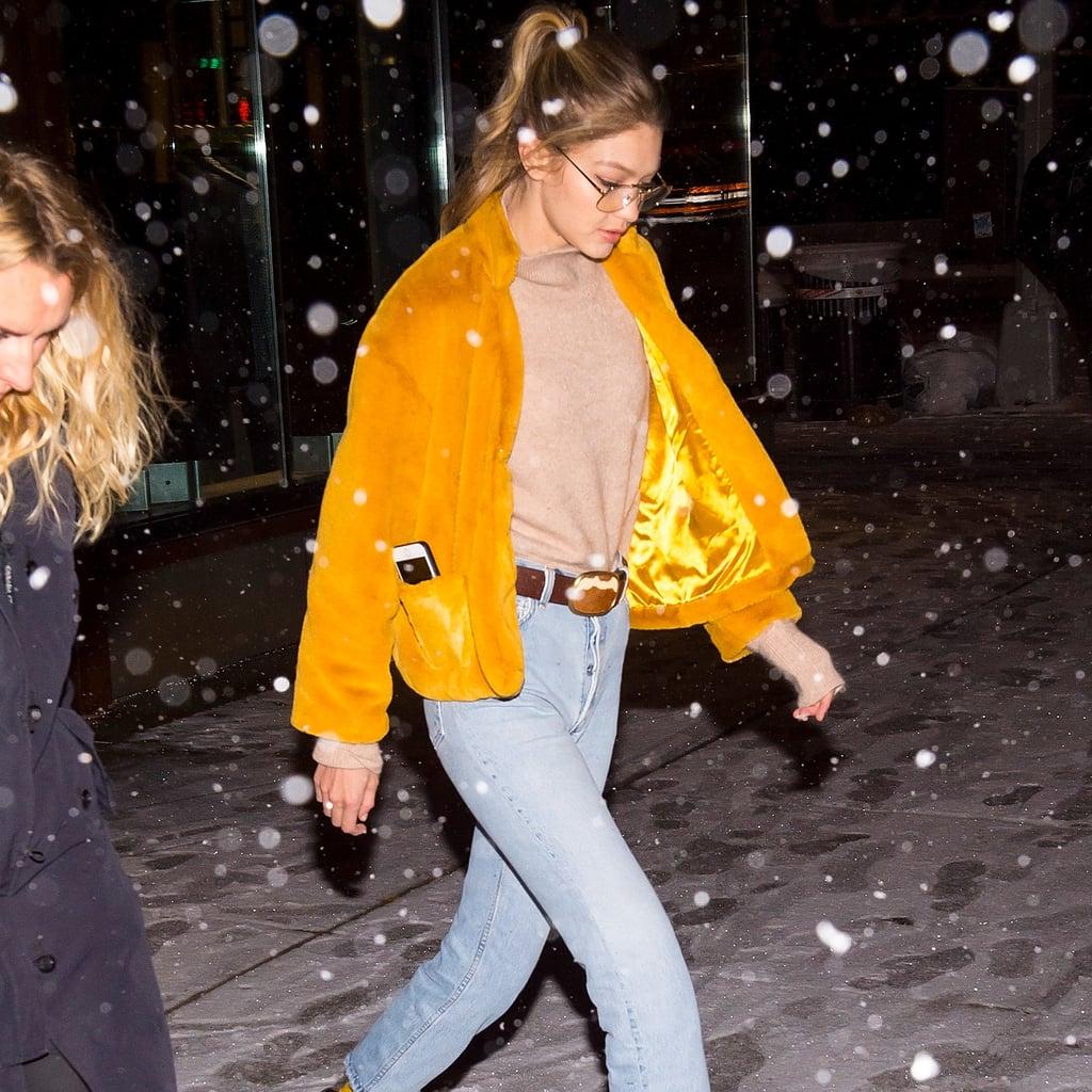 Gigi Hadid Yellow Furry Coat
