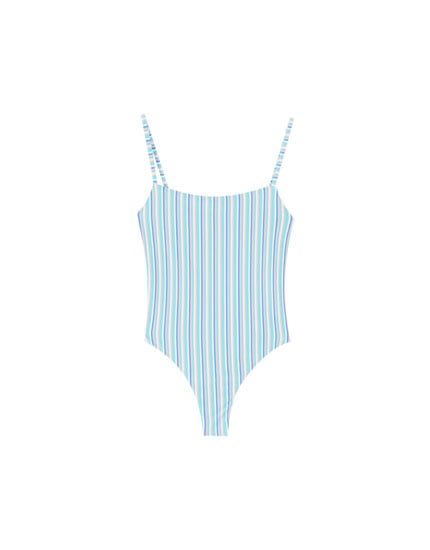 PULL&BEAR Straight Neck Striped Swimsuit