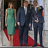 The Trumps greeted Prime Minister Leo Varadkar of Ireland on March 15. Melania wore a green sheath dress from Brandon Maxwell and a pair of Christian Louboutin snakeskin pumps.