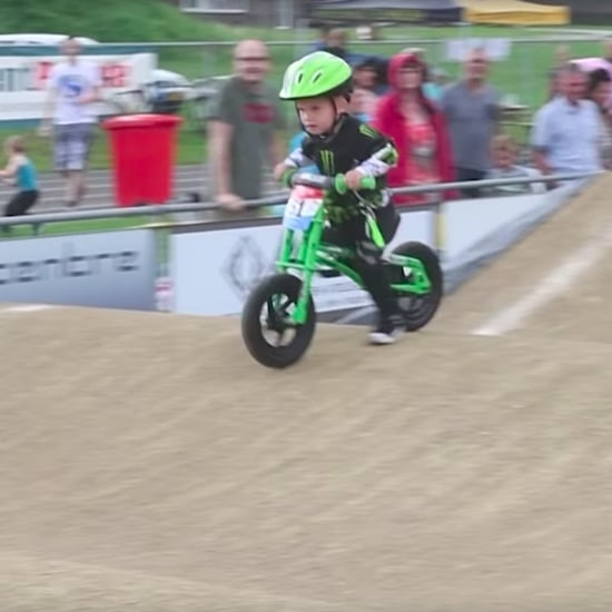 2-Year-Old Loses Walking Bike Race to Ride Course Again