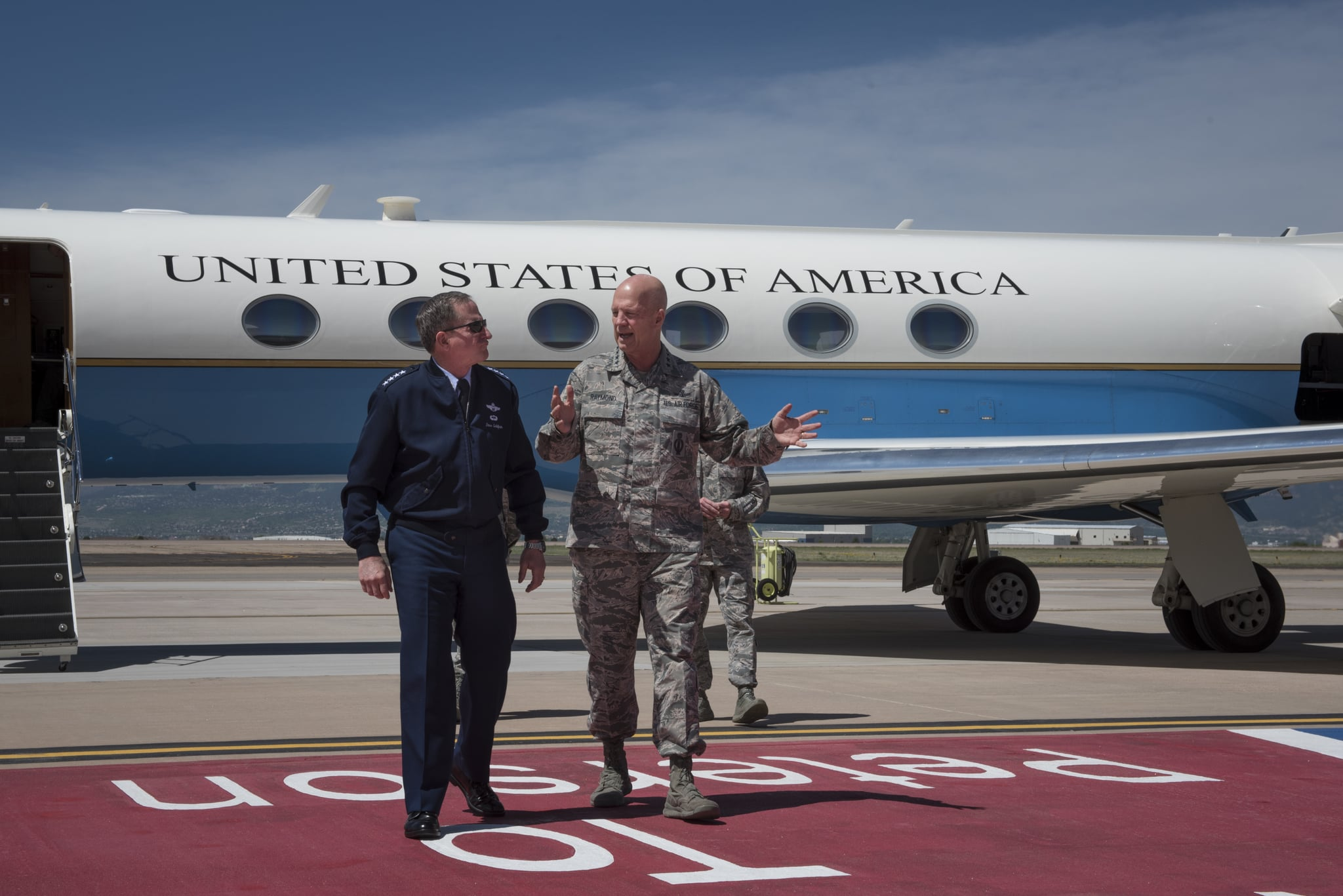 US Air Force Chief of Staff Gen David Goldfein walking with Air Force Space Command commander Gen Jay Raymond, Peterson Air Force Base, Colorado, May 22, 2018. Image courtesy Senior Airman Dennis Hoffman / U.S. Northern Command. (Photo by Smith Collection/Gado/Getty Images)