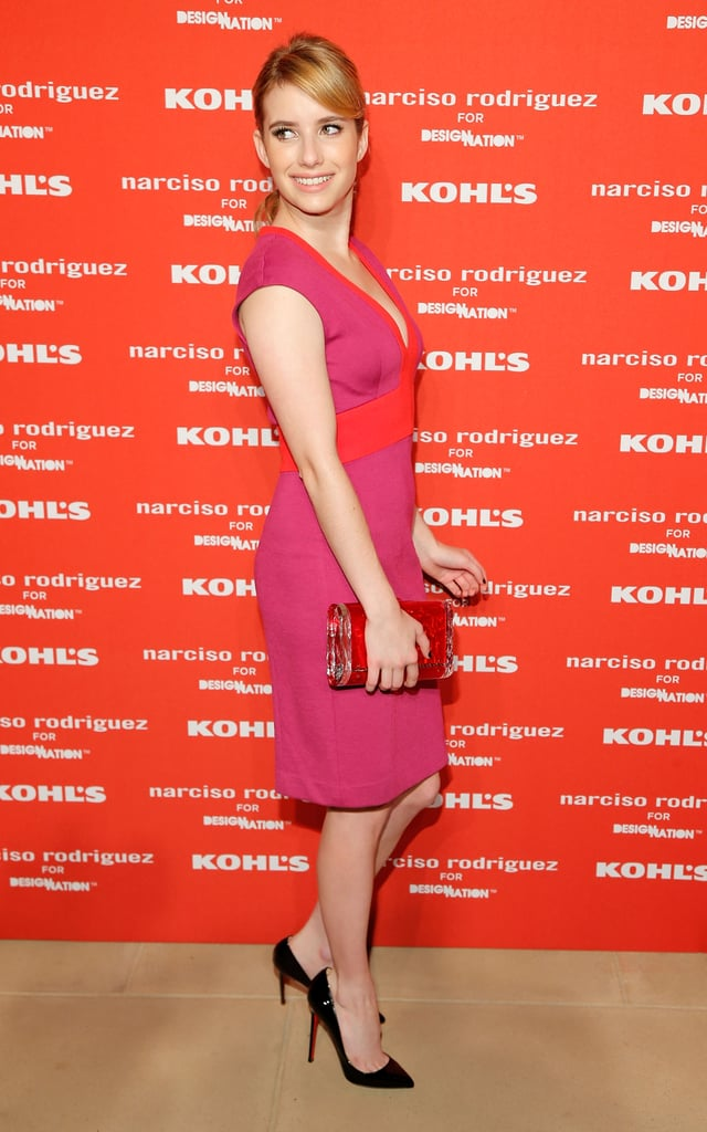 Emma Roberts wore a pink and orange dress for Narciso Rodriguez's Kohl's collection launch party in NYC.