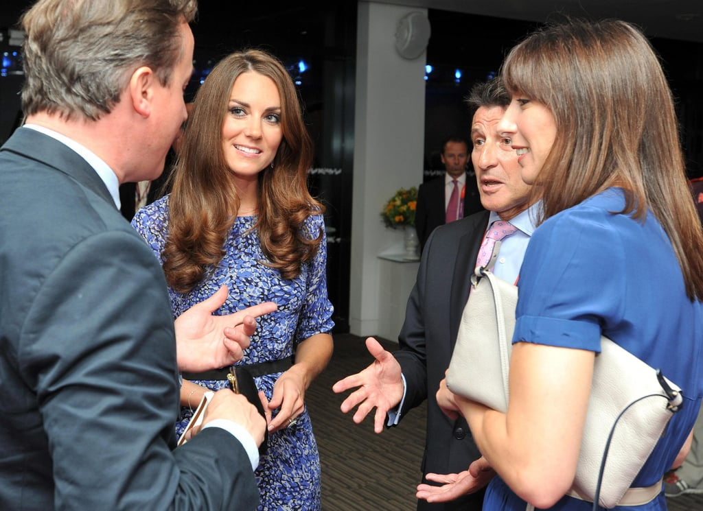 Kate caught up with Prime Minister David Cameron and his wife.