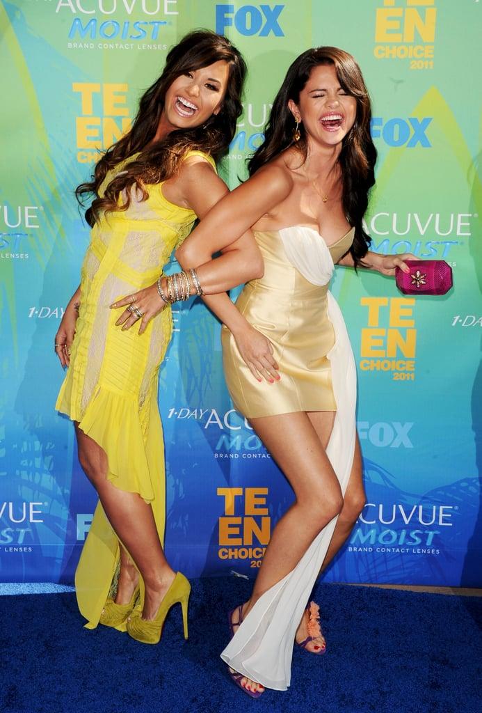 Demi Lovato and Selena Gomez at the 2011 Teen Choice Awards