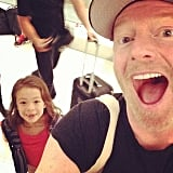 "Jesse Tyler Ferguson took this selfie at the airport and said, ""Boarding our plane to Australia! It's this little girls first time out of the country! (Aubrey's...not mine)."" Source: Instagram user jessetyler"