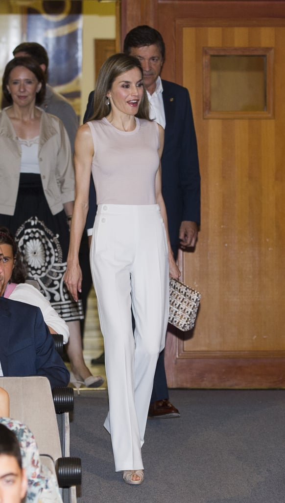 Queen Letizia S High Waisted White Pants July 2016
