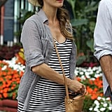 Pregnant Keri Russell on her way to the US Open.