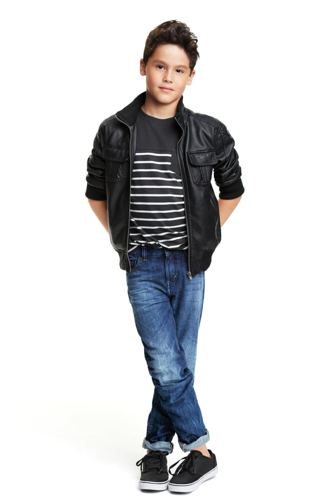 He's sure to stand out on the first day of school in a pleather jacket ($39) paired with a black and white striped tee ($8).