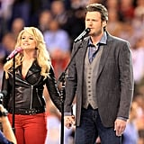 "Miranda Lambert and Blake Shelton held hands during their performance of ""America the Beautiful"" in 2012."