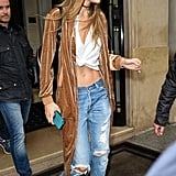 Gigi Wearing Her Tee at Paris Fashion Week