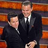 Leonardo DiCaprio and Mark Wahlberg got silly in the audience.