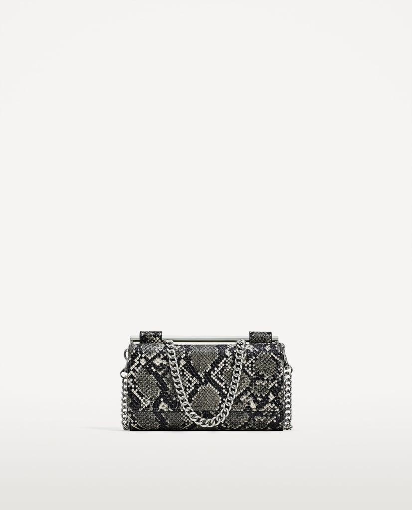 Zara Printed Pearl Embellished Crossbody Bag