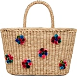Nannacay Natural Straw Margarida Pom Pom Tote