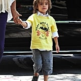 Levi McConaughey sported shorts and sandals on their family outing.