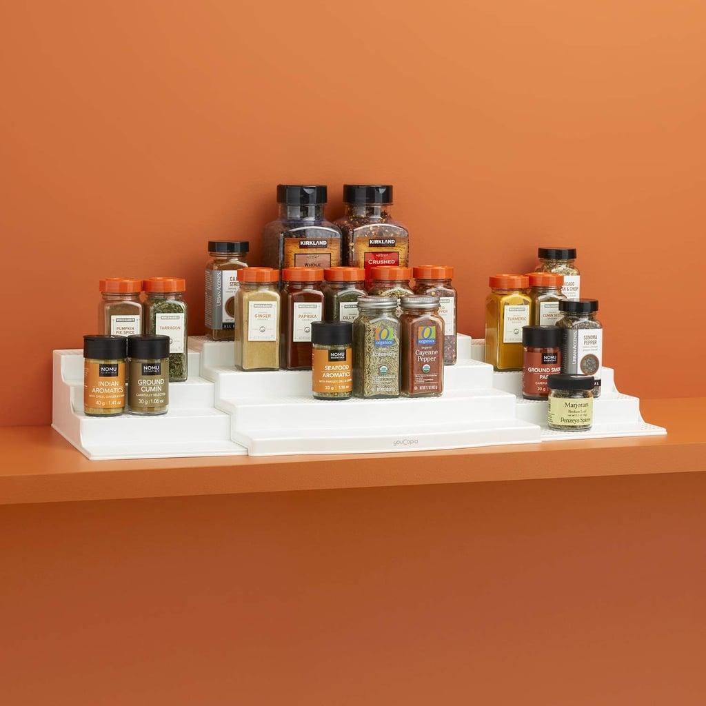 YouCopia Expandable ShelfSteps 4-Tier Spice Shelf Cabinet Organizer