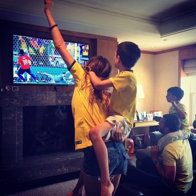 Gisele Bündchen showed her excitement for Brazil's win along with her boys, Tom, Jack, and Benjamin Brady. Source: Instagram user giseleofficial