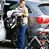 Jessica Alba carries Haven.