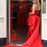 Rita Ora gave us some serious early morning glamour in a red gown as she opened the Coca-Cola Contour Centenary Bar in London on Thursday.