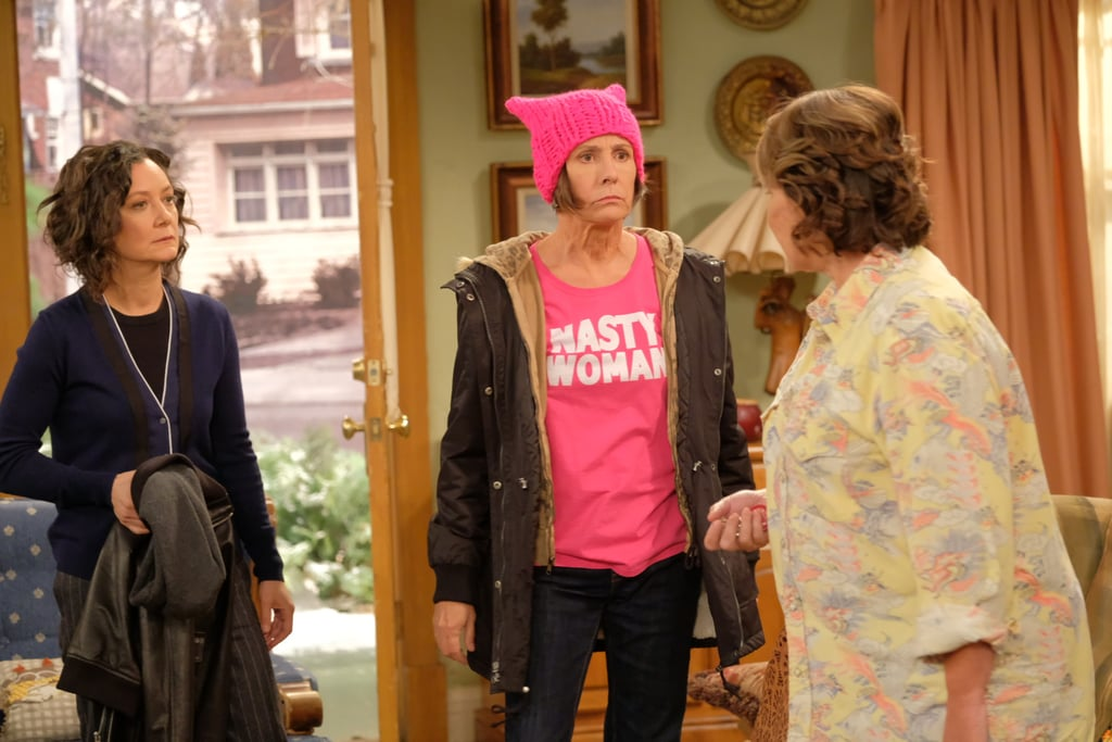 Darlene looks on as her Aunt Jackie has it out with Roseanne.