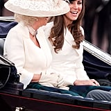 "Kate: ""Is this the one where they wear the tall, furry hats or the floppy ones with the feathers?""  Camilla: ""Who cares? They're both hilarious."""
