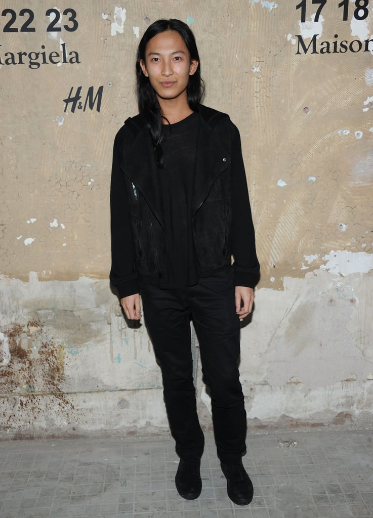 Alexander Wang stepped out for the celebration in his signature brand of cool — all black with suede moto jacket.