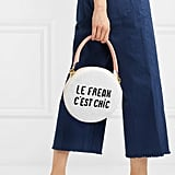 Clare V. Circle Embellished Textured-Leather Clutch