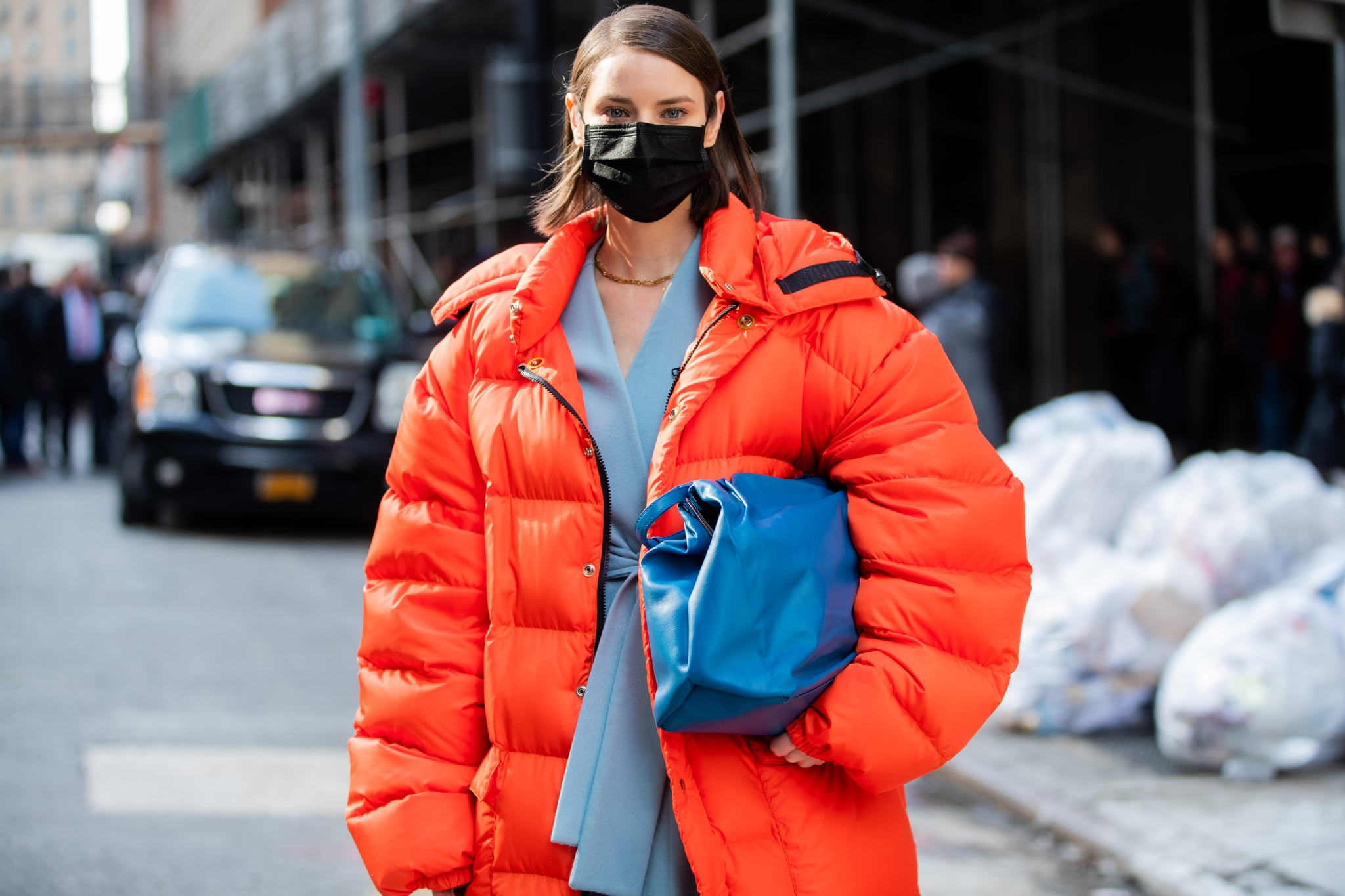 NEW YORK, NEW YORK - FEBRUARY 12: Marina Ingvarsson is seen wearing face mask outside Michael Kors during New York Fashion Week Fall / Winter 2020 on February 12, 2020 in New York City. (Photo by Christian Vierig/Getty Images)