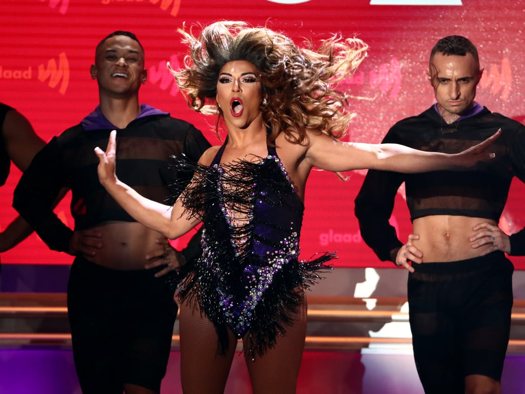 """Performing in front of Beyoncé is one thing, but performing Beyoncé's music in front of Beyoncé herself takes a level of confidence that very few people have, and Shangela is one of those people. On Thursday night, Beyoncé and JAY-Z attended the GLAAD Media Awards, where they were honoured with the vanguard award for their ongoing support of the LGBTQ+ community. With Queen Bey and JAY-Z right in front of the stage, former Drag Race star Shangela treated the audience to a epic seven-minute performance of Beyoncé's hits, and it was so freaking good.  Not only did Beyoncé give Shangela a standing ovation following her performance, but while accepting her vanguard award, Bey gave a shout-out to the drag queen. """"I'm just super honoured and overwhelmed,"""" Beyoncé said. """"I've already cried. I put a run in my shocking from Shangela."""" Ahead, watch Shangela's performance at the GLAAD Media Awards and see Beyoncé's incredible reaction."""
