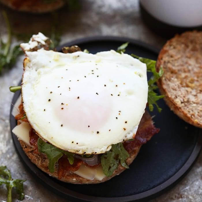Arugula Breakfast Sandwich With Caramelized Onions