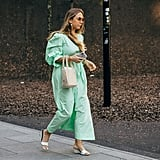 Take your pastels into the summer months when you work your mint green dress with a beaded bag and simple little wedge.
